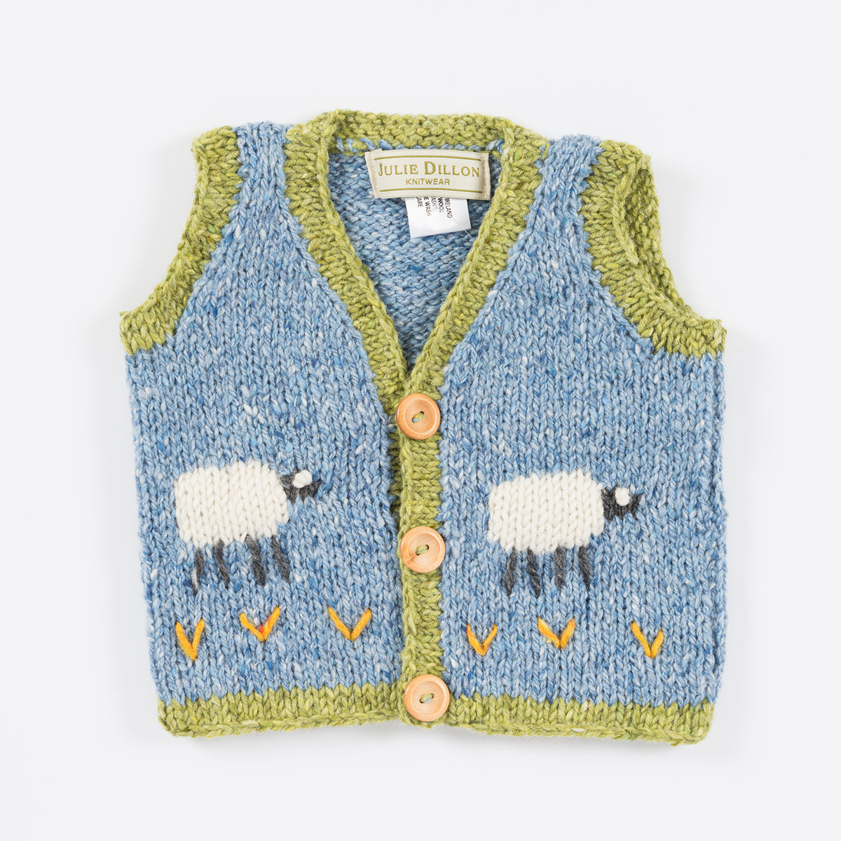 Handknitted Baby Waistcoat - Blue with Sheep motif
