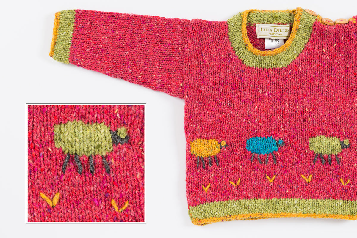 Handknitted Baby Sweater - Cerise with Sheep motif