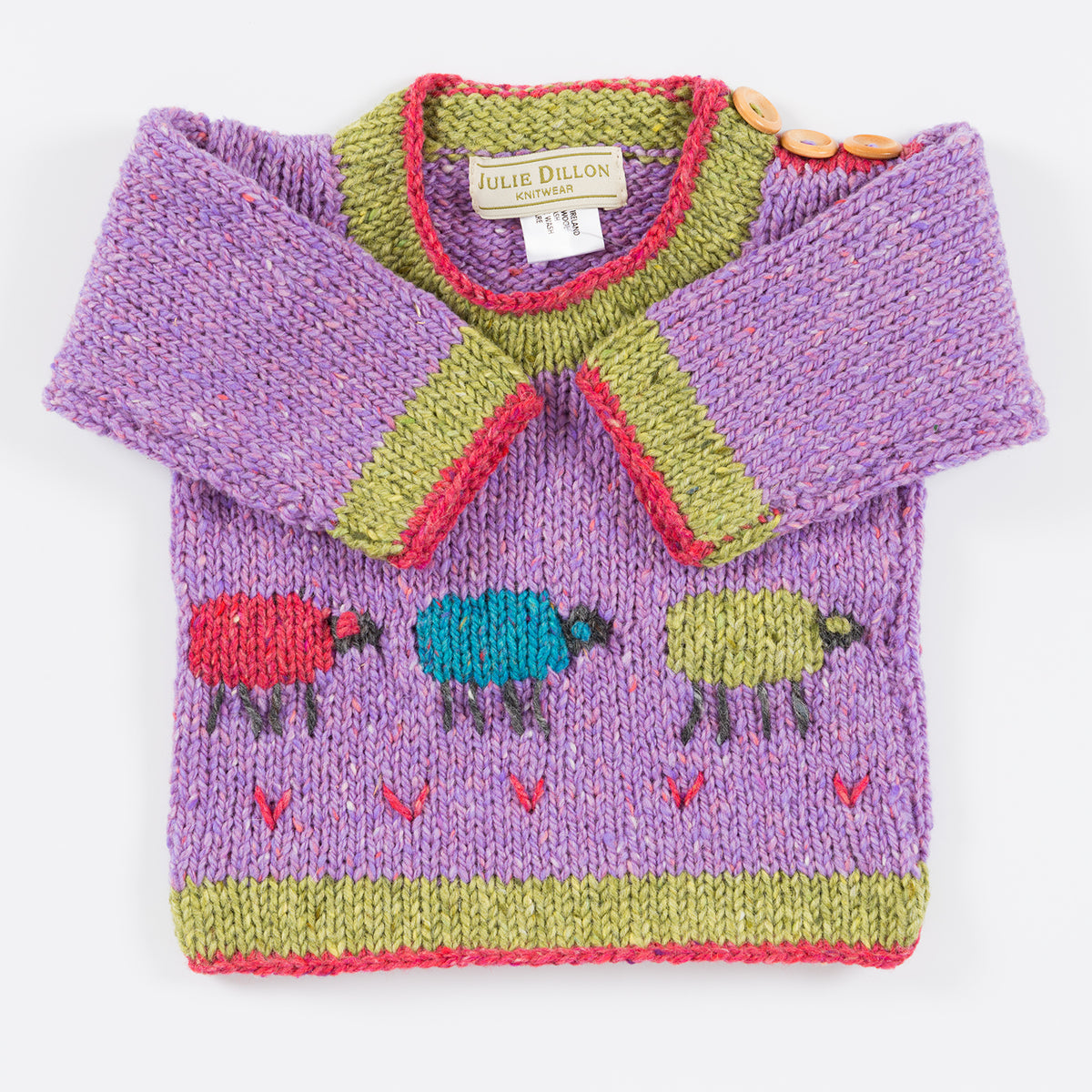 Handknitted Baby Sweater - Lilac  with Rainbow Sheep motif