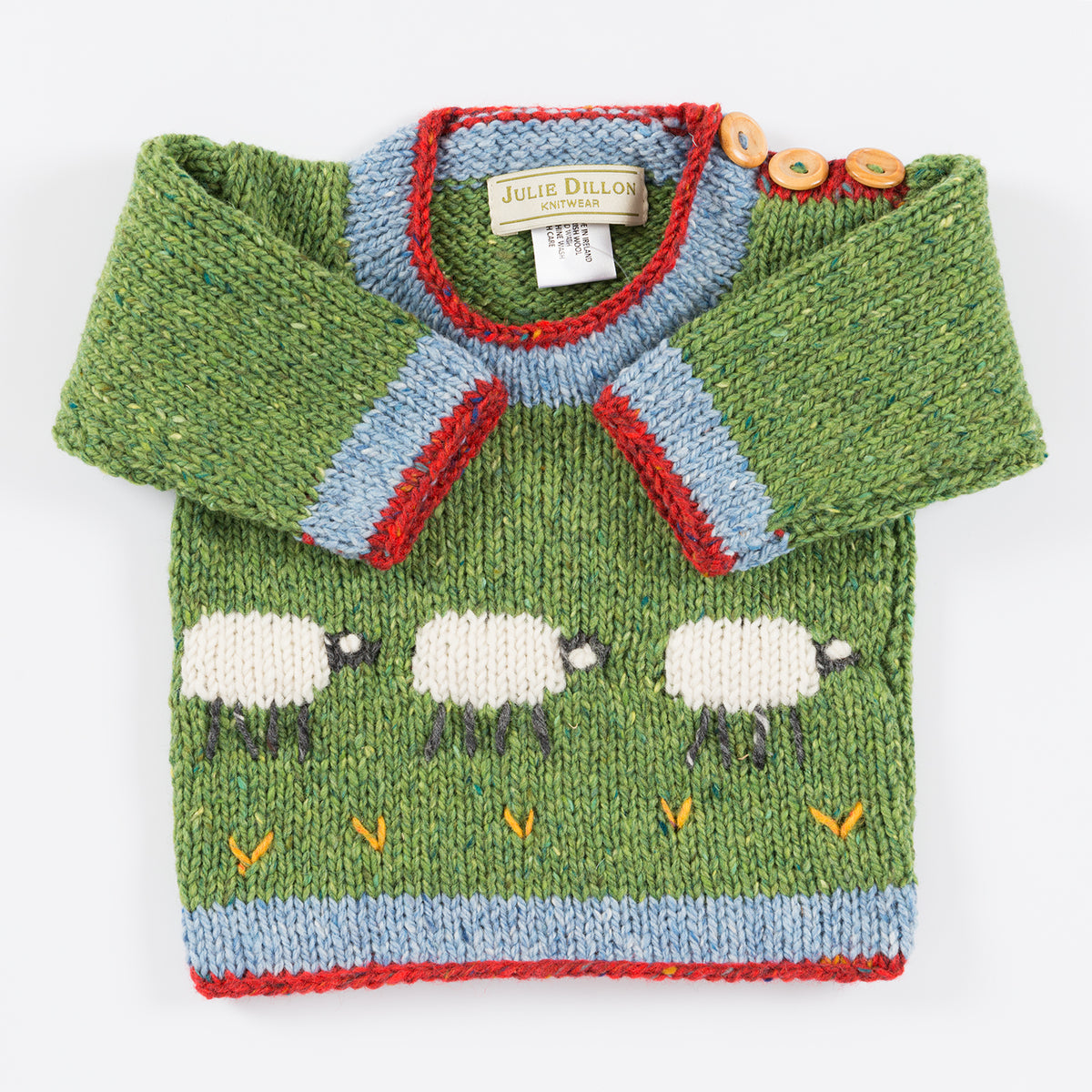 Handknitted Baby Jumper - Green with Sheep motif