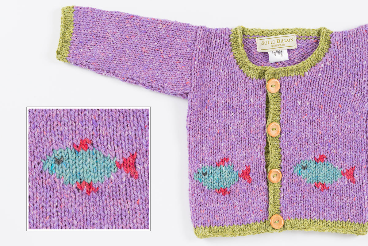 Handknitted Baby Cardigan - Lilac with Fish motif