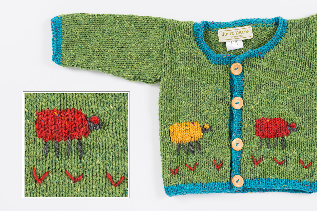 Handknitted Baby Cardigan - Green with Rainbow Sheep motif