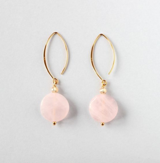 Rose Quartz Coin Gold Earrings
