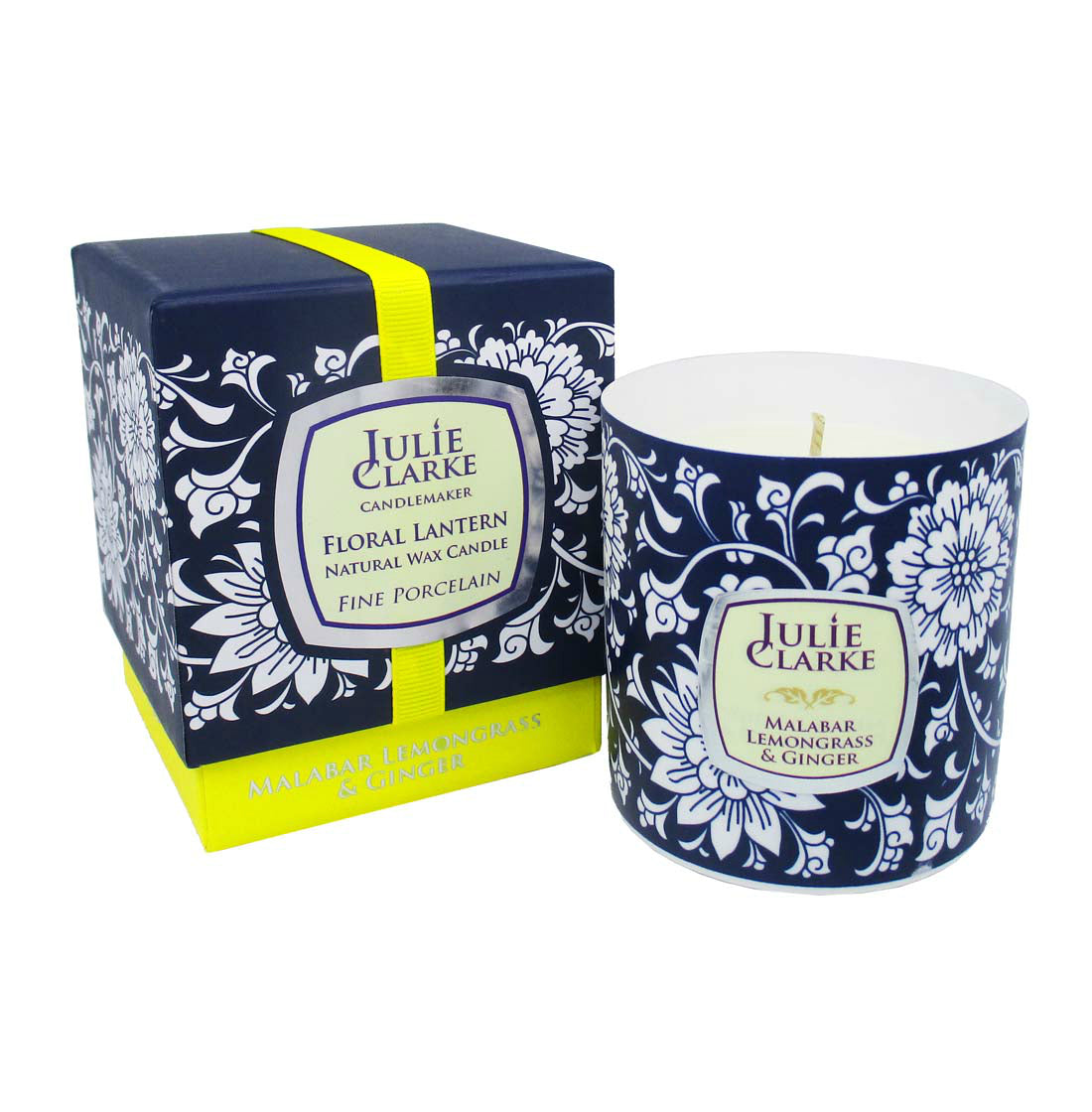 Malabar Lemongrass and Ginger Floral Porcelain Candle