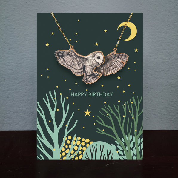AD Necklace Owl Birthday Card (NL009)