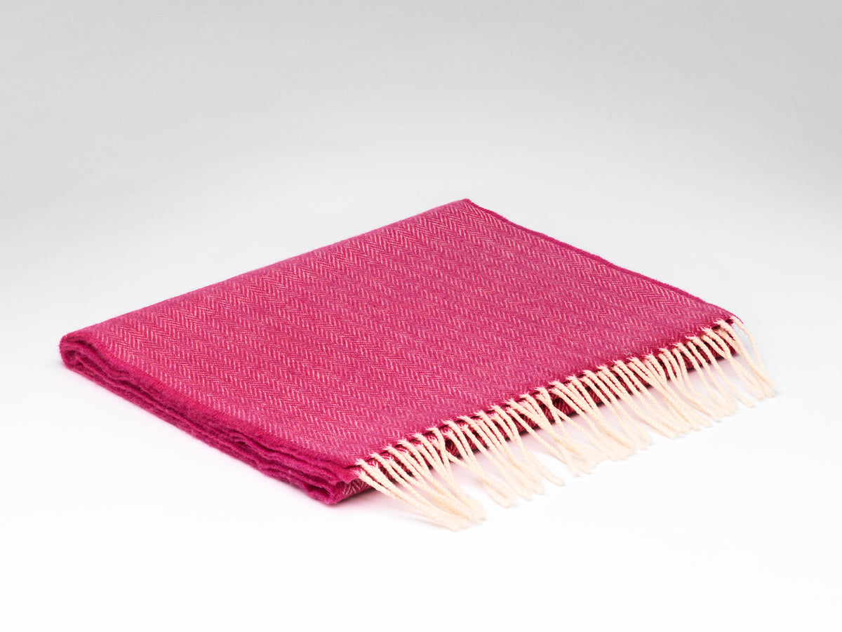 """Raspberry Rose"" Lambswool Scarf with Gift Box"
