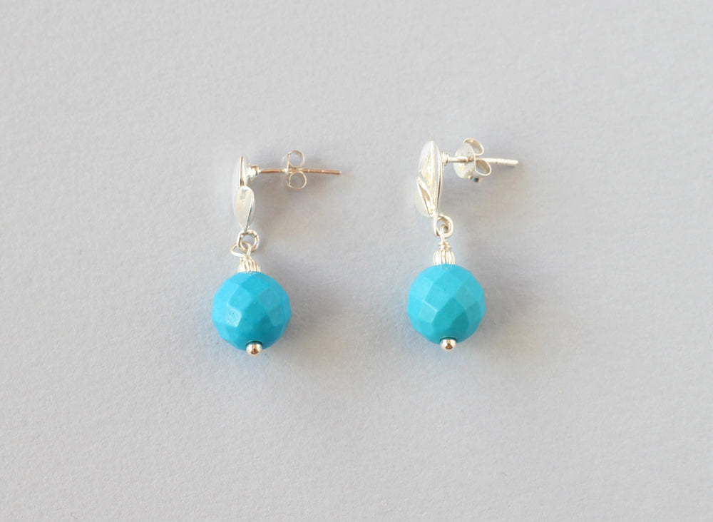 Turquoise Sterling Silver Leaf Studs
