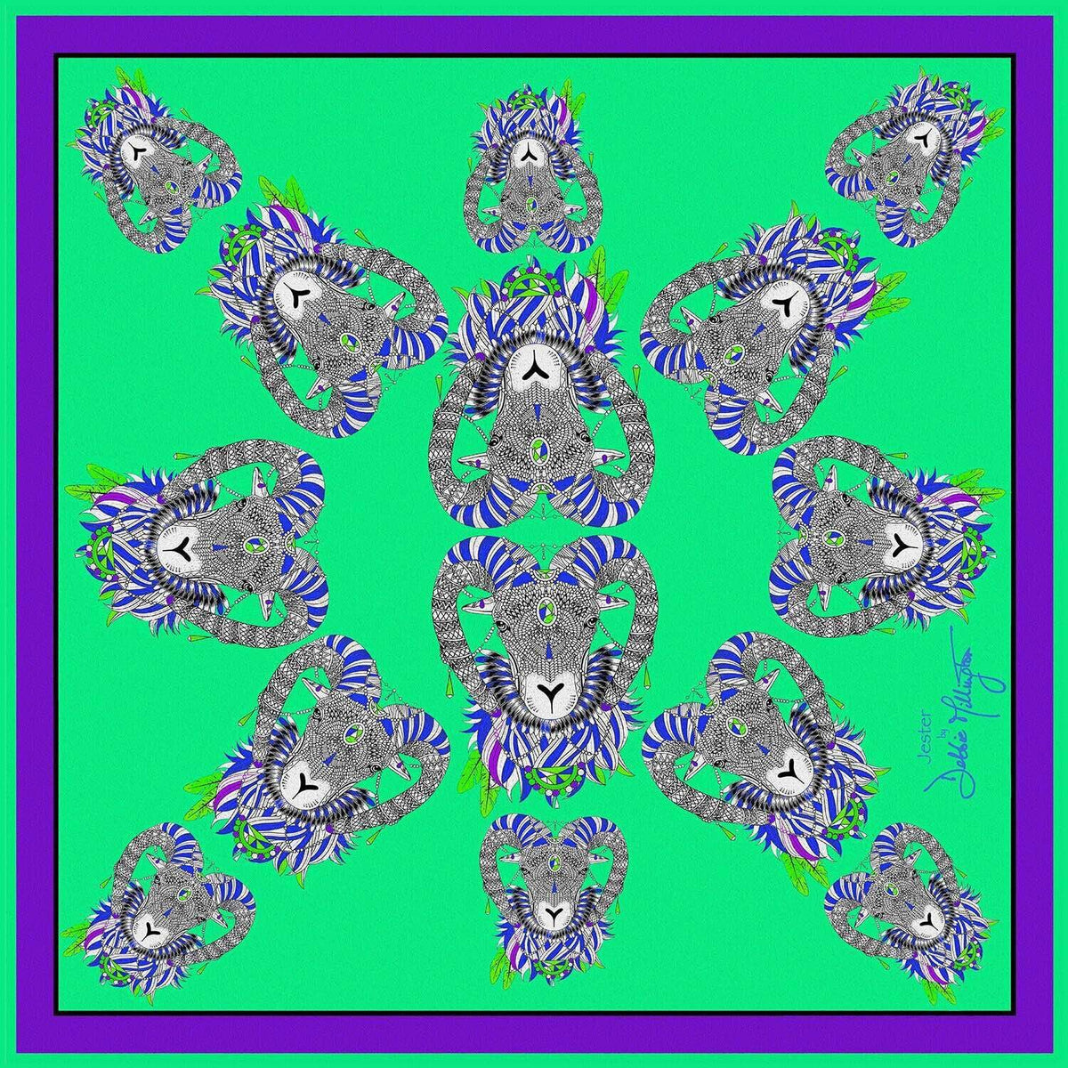 Jester Ram (Green/Purple) Silk Scarf by Debbie Millington