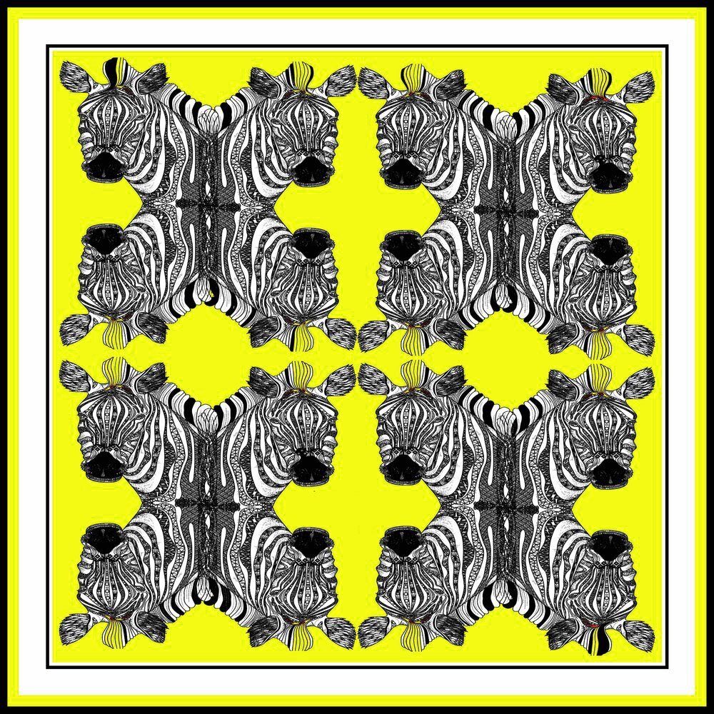 Zebras (Yellow) Silk Scarf by Debbie Millington