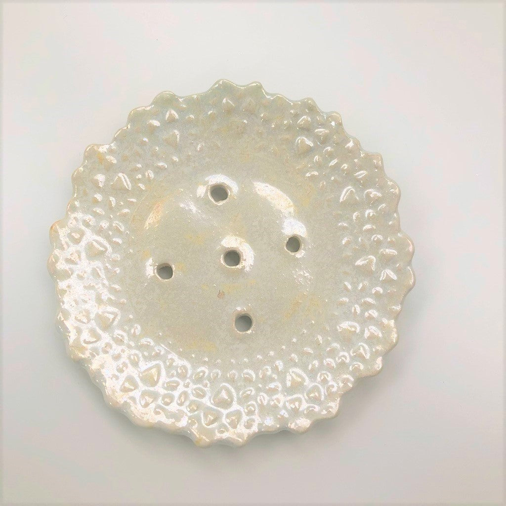 Cream Opalescent Flower Soap dish and Palm Free Soap