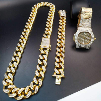 0.8 Inch Hip Hop Gold Color Ice Out Cuban Crystal Miami Cuban Chain Gold Silver Men Watch & Necklace & Bracelet Set Hip Hop King New