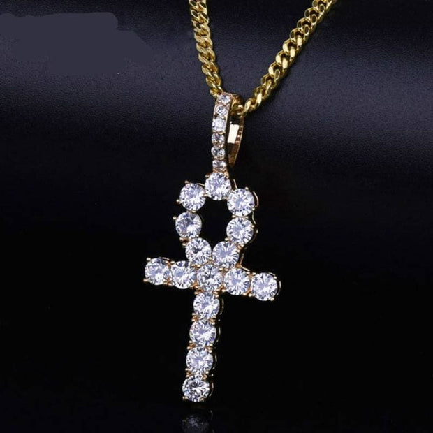 Ankh Cross Pendant Gold Color Copper Material CZ Egyptian Key of Life Pendant Necklace Men Women Hip Hop Jewelry