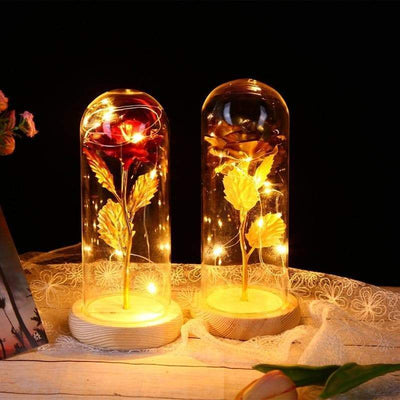Beauty and the Beast Red Rose in a Glass Dome with LED Light and Base for Valentine's Mother's Day Gifts