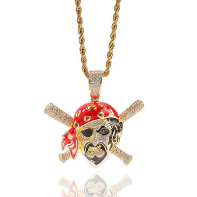 Hip-hop Men Fashion Zircon Colored Skull Pirate Pendant Crystal Miami Ice Out Cuban Necklace Hip Hop For Men