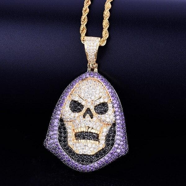 Hoody Skull Purple Stone Pendant Necklace Tennis Chain Gold Color AAA Cubic Zirconia Hip hop Rock Jewelry