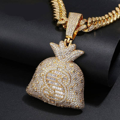 Hip Hop Big Money Bag Pendant Necklace Iced Out Bling Cubic Zircon Men's Rapper Jewelry Top Quality Fashion Jewelry