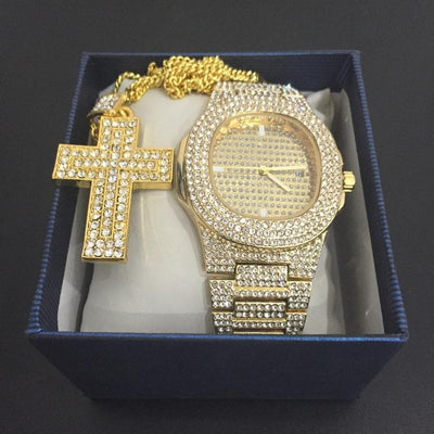 Luxury Men Gold Watch Diamond Ice Out Cuban CZ Ankh Cross Pendant Chain Necklace Sliver Cz Bling Rapper Men Jewelry In Crystal
