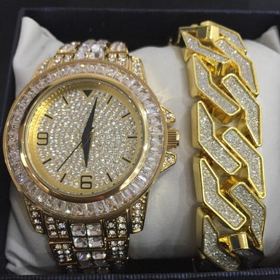Luxury Men Gold Watch Hip Hop Alloy ice out cuban men watch & Bracelet Gold Geometric Shape Bracelet Hip Hop Braclete for men