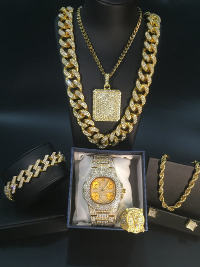 Luxury Men Gold Watch & Necklace & Bracelet & Ring & Earrings Combo Set Ice Out Cuban In Crystal Necklace Chain Hip Hop For Men