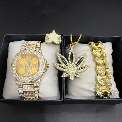 Luxury Men Gold Watch & Necklace & Braclete & Ring Combo Set Ice Out Cuban Gold Watch Hip Hop Necklace Chain Jewerly Set For Men
