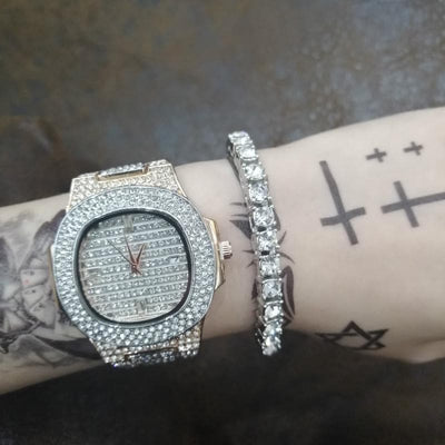 Luxury Men Watch +Bracelets Set Fashion Diamond Ice Out Cuban Braclete Chain Gold Silver Color Crystal Miami With Box 2019