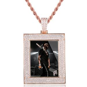 New Custom Photo Memory Square Solid Medallions Pendant Necklace For Women Men Hip Hop Crystal Jewelry