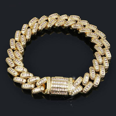New Top Quality Baguette Zircon Miami Cuban Link Bracelet 8 Inch Long Necklace Choker Iced Out For Men's Hip Hop Fashion Jewelry