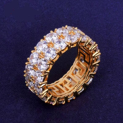 Two Row Solitaire Homme's Ring Copper Charm Gold Color Cubic Zircon Iced RING Fashion Hip Hop Bijoux