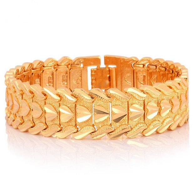 Gold Color Heart Bracelet Jewelry Wristband 0.6Inch 7.8Inch Chunky Big Chain Bracelets Bangles For Men Fathers Day Gifts