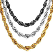 Hip Hop Twisted Rope Necklace For Men Gold Color Thick Stainless Steel Hippie Rock Chain Long/Choker Hot Fashion Jewelry