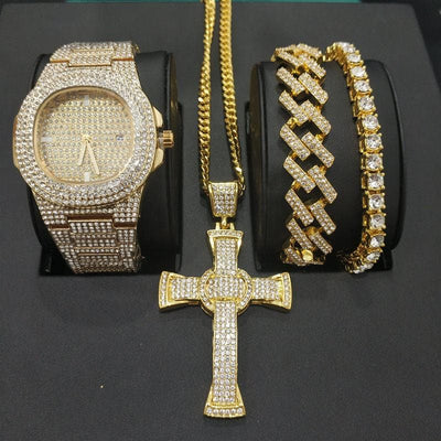 Watch Men Hip Hop Diamond Cross Jewelry Watch & Necklace & Bracelet Combo Set Watch Diamond Ice Out Cuban Pendant Necklace Set