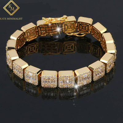 0.4 Inch Gold Color Zircon Stone Square Bracelet AAA CZ Stone Tennis Chain Bracelets For Men Hip Hop Fashion Jewelry
