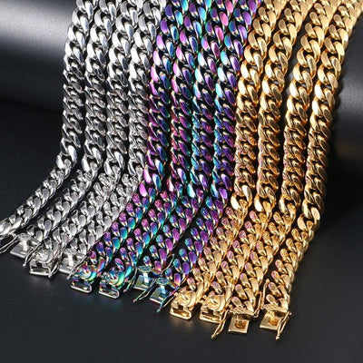 10mm Width Heavy Colorful Cuban Chain For Men's Hip Hop Jewelry Fashion Top Quality Steel Necklace 18/22/24inch
