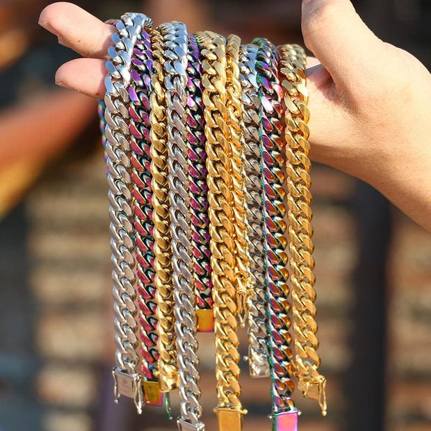 10mm Width Heavy Colorful Cuban Chain For Men's Hip Hop Jewelry Fashion Top Quality Steel Necklace & Bracelet 18/22/24inch