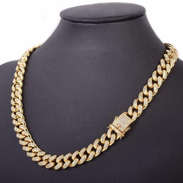 0.5 Inch Iced Zircon Cuban Necklace Chain Hip hop Jewelry Gold Color Copper Material CZ Clasp Mens Necklace Link 18-28inch