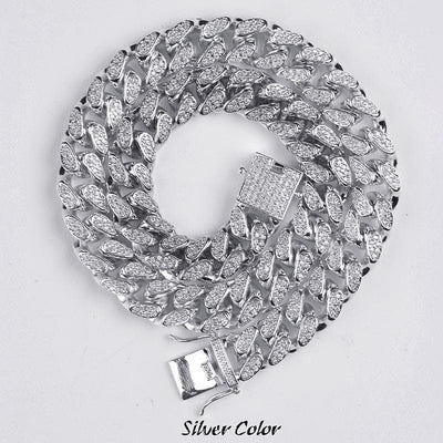 0.5 Inch Hip Hop Men's Maimi Cuban Link Chain Necklace Silver Plated Gold Iced Out Cubic Zircon Bling Jewelry Necklaces Gifts