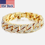0.5 Inch Men's Bracelet Hip Hop Miami Cuban Link Gold Silver color Iced Out Paved Rhinestones Male Wristband Street Jewelry