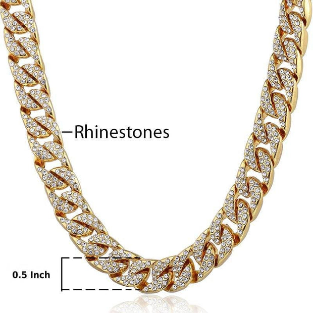 Necklace Miami Curb Cuban Chain Gold color Hip Hop Iced Out Paved Rhinestones CZ Rapper Male Necklace Jewelry