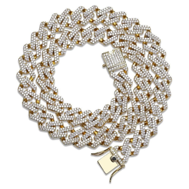 0.5 Inch Miami Prong Set Cuban Chains Necklace For Men Gold Silver Color Hip Hop Iced Out Paved Bling CZ Rapper Necklace Jewelry