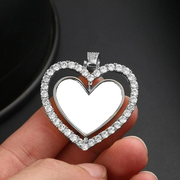Hollow Heart Custom Photos Rotating Double-side Memory Medallion Solid Pendant Necklace Zircon Tennis Women Men Hip Hop Jewelry