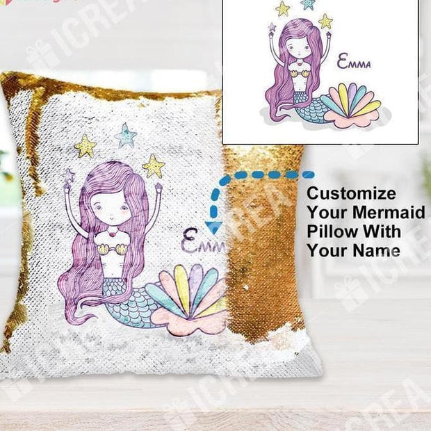 Personalized Mermaid Sequin Pillow