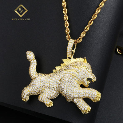 New Fashion Iced Out Lion Animal Pendant Necklace Gold Silver For Men's Hip Hop Fashion CZ Rhinestone Jewlery Dropshipping