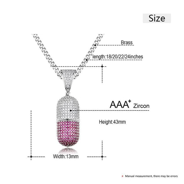 Colorful Pil Bottle Shape Necklace & Pendant For Men's Hip Hop AAA Cubic Zircon With Rope Chain For Gift With Box Trendy Party