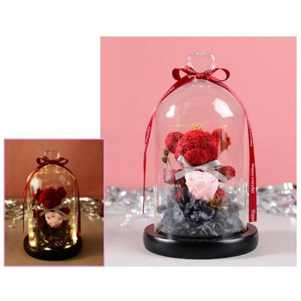 Eternal Teddy Bear Fresh Rose Flowers In Glass Dome With LED Light In A Flask Immortal Rose Valentine's Day Mother's Day Gifts