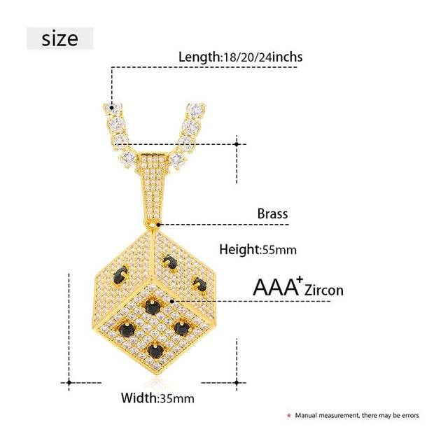 Fashion Ice Out Square Dice Pendant Necklace Bling Cube Cubic Zirco Micro Paved AAA Zircon For Men Hip Hop Jewelry For Gifts