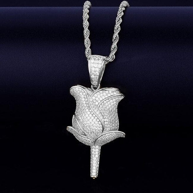 Flower Petals Necklace & Pendant With Tennis Chain Color Iced Cubic Zircon Men's Hip hop Jewelry For Gift