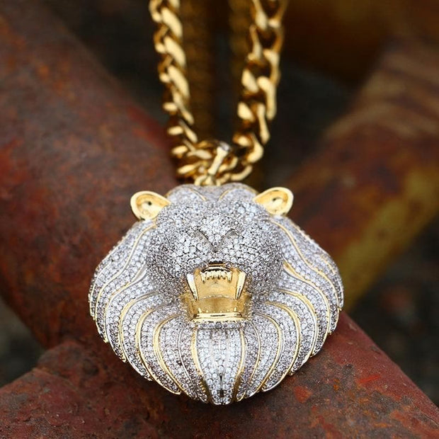 Iced Out Micro Pave Cubic Zircon Lion Head Pendant Necklace For Men's Hip Hop Jewelry Fashion Design Rock Fashion Jewelry Gift