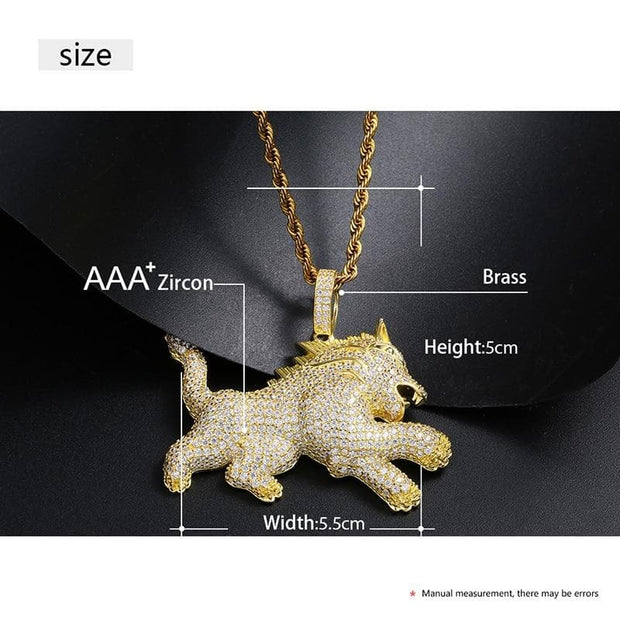 New Fashion Iced Out Lion Animal Pendentif Necklace Gold Silver For Men's Hip Hop Hop Fashion CZ Rhinestone Jewlery Dropshipping