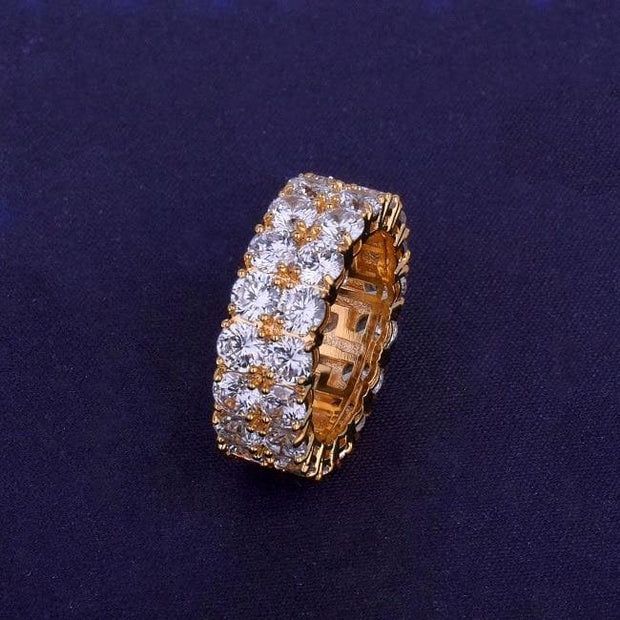Two Row Solitaire Men's Ring Copper Charm Gold Color Cubic Zircon Iced RING Fashion Hip Hop Jewelry