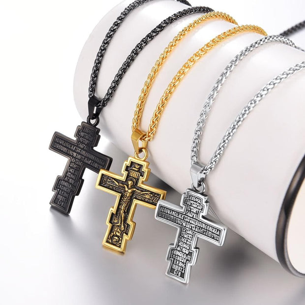 Brand Christian Orthodox Crucifix Jesus Russian Cross Prayer Big Pendant Stainless Steel Silver/Gold Color Men Women Jewelry